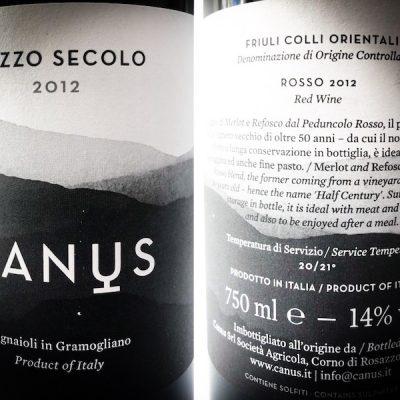 """Friuli Colli Orientali DOC Rosso – """"MEZZO SECOLO"""" – 2012 – CANUS"""